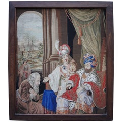 19th Century Framed Needlepoint Panel of King David
