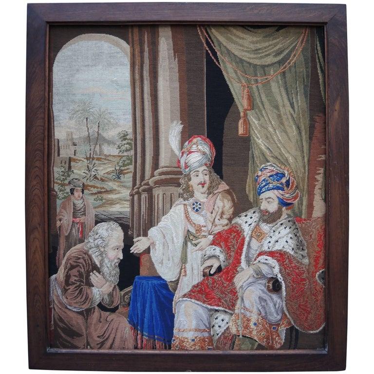 19th Century Framed Needlepoint Panel of King David
