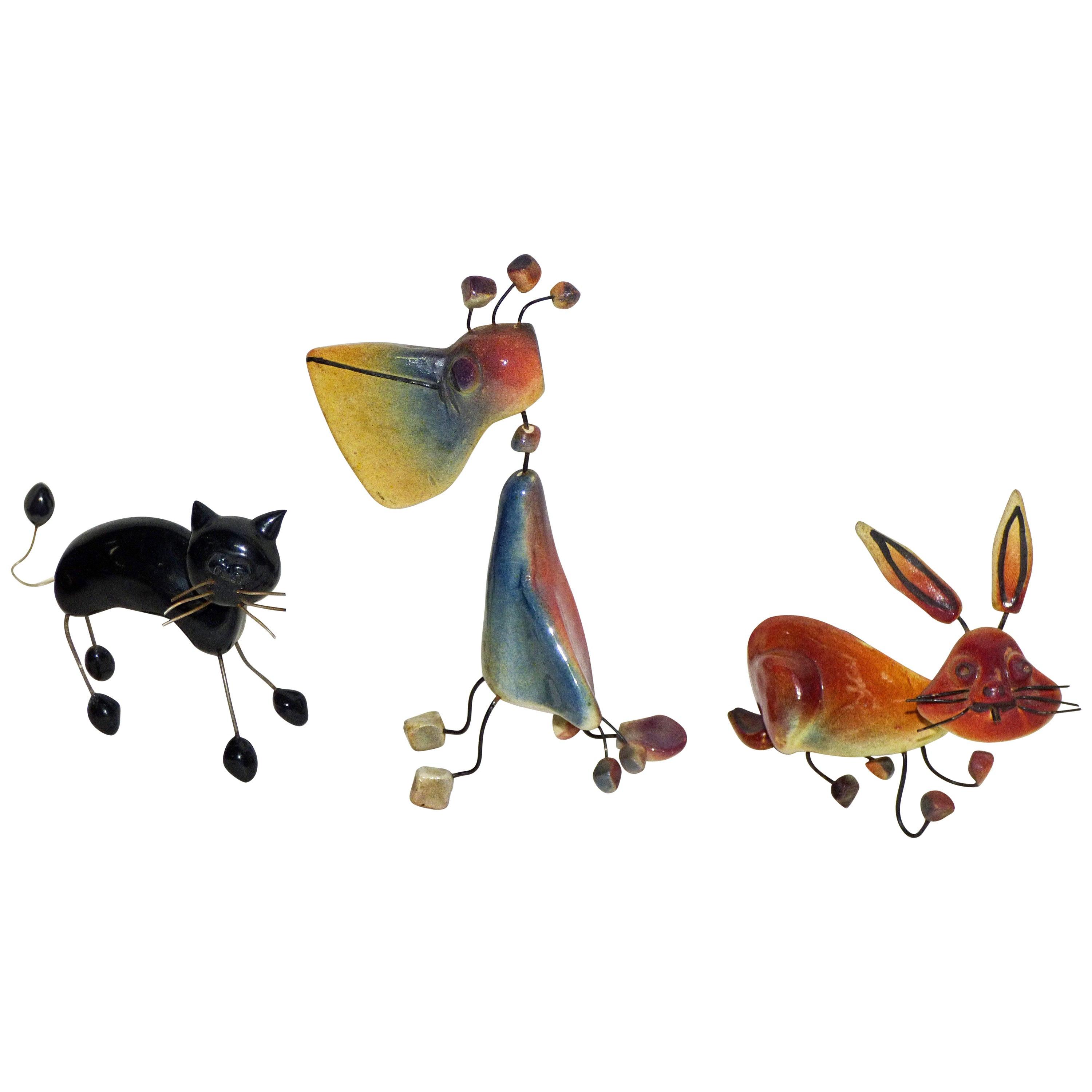 Accolay, Three Animals in Wire and Ceramic Cat, Pelican and Rabbit, Signed