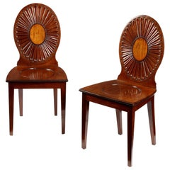 Pair of George-III Mahogany Hall Chairs in the Manner of Ince & Mayhew