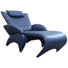 De Sede Ds 260 Designer Leather Chair Long Chair Blue Function Modern