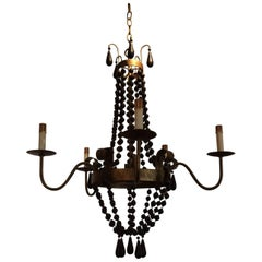Stylish Iron and Wooden Bead Chandelier