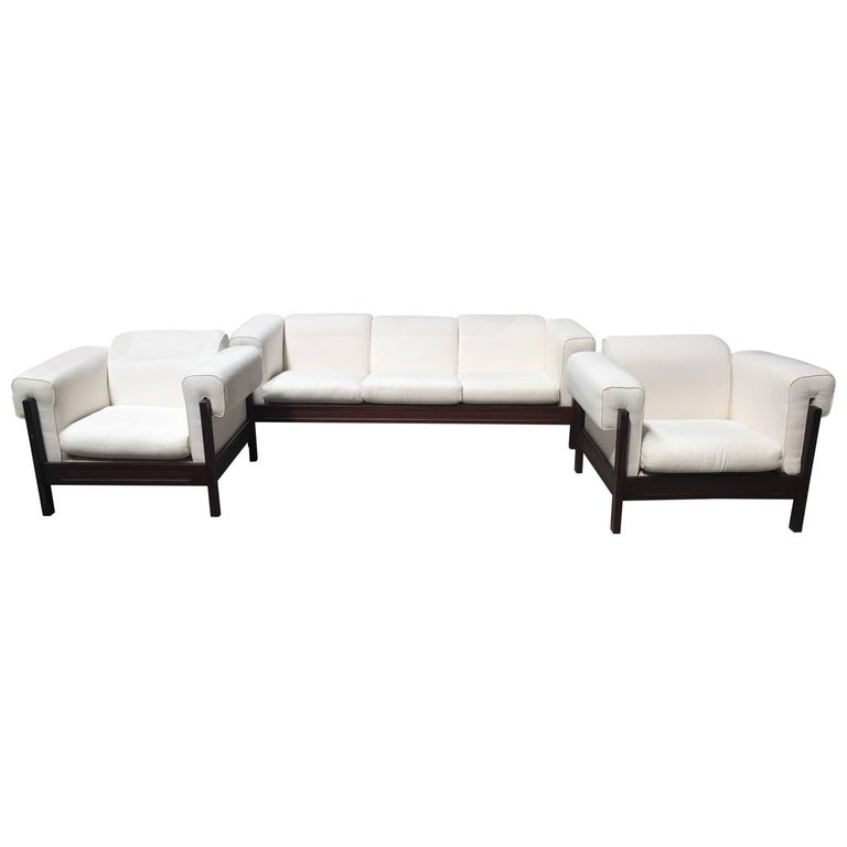 Italian Mid-Century Modern Set Composed by One Sofa and Two Armchairs from 1970s