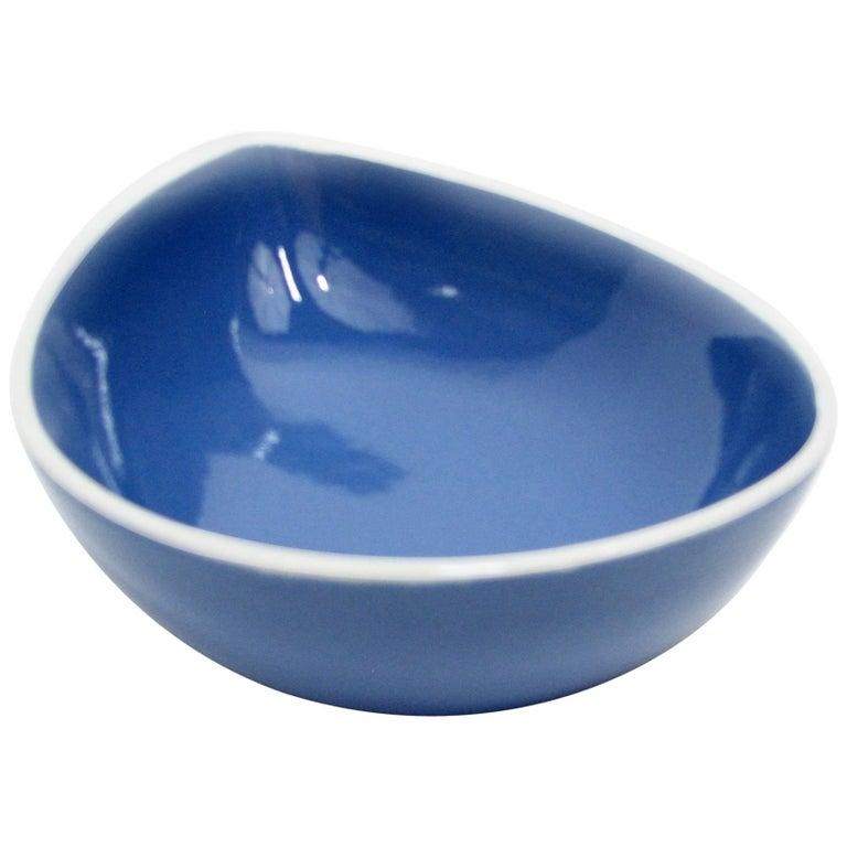 Pristine Blue Teardrop Bowl by Stig Lindberg for Gustavsberg For Sale