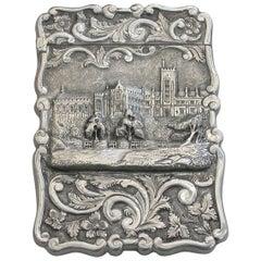 "Victorian Silver Castle-Top Card Case ""Queens College Cork"", 1872"