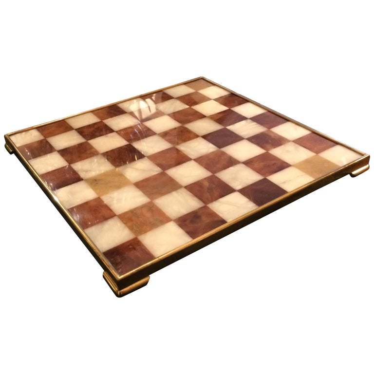 Handsome Marble and Brass Game Board