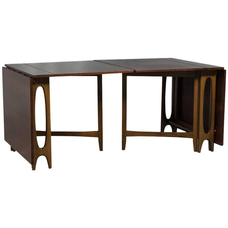 Mid Century Modern Console Drop Leaf Dining Table Set For