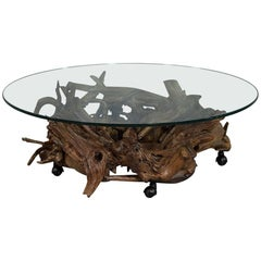 Vintage Driftwood Carved Glass Top Cocktail Table