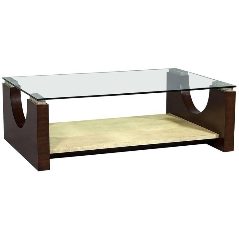 Modern rosewood and parchment glass top cocktail table for for Contemporary glass cocktail tables