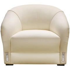 Lalique Maison Ivory Silk Classic Club Armchair with Raisins Crystal Panel