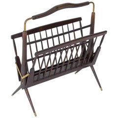 Italian Mid-Century Modern Walnut Magazine Rack Attributed to Ico Parisi, 1950s