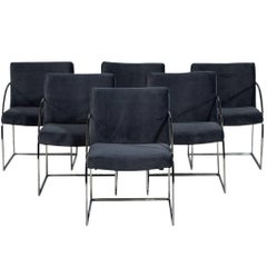 Set of Six Milo Baughman Chrome Armchairs