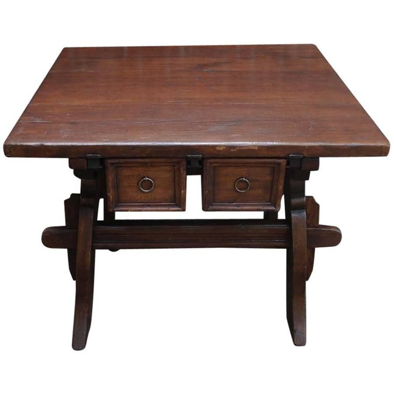 Swiss renaissance banker or merchant table in walnut dating circa 1750 For Sale