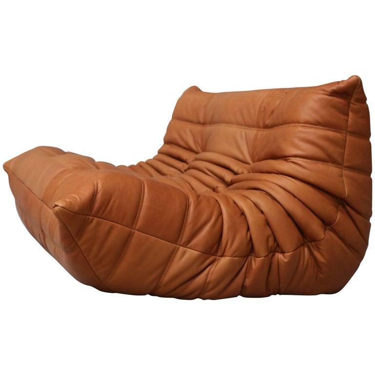 Loveseat Togo By Michel Ducaroy For Ligne Roset In Full Grain Cognac Leather