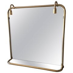 French Brass Metal Wall Lighted Mirror with Glass Shelf from 1970s
