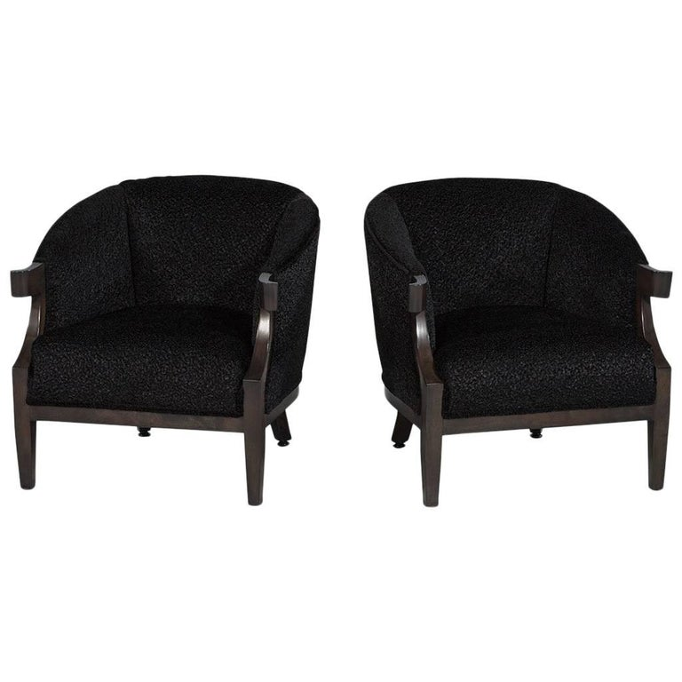 Pair of Black Luxurious Mid-Century Tub Chairs