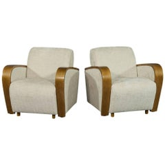Pair of Art Deco Style Chenille Armchairs