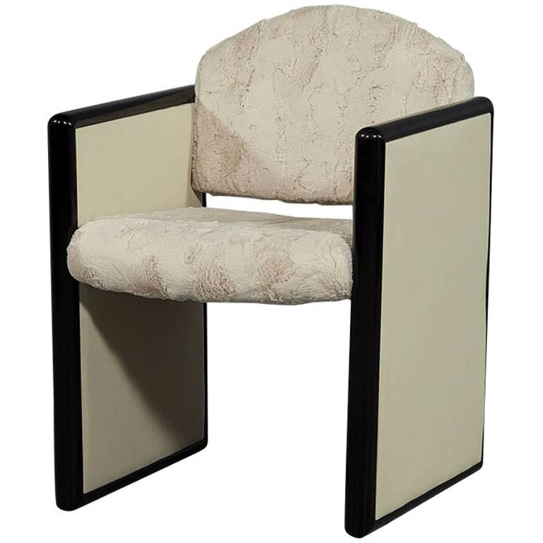 Modern Faux Fur Accent Chair For Sale