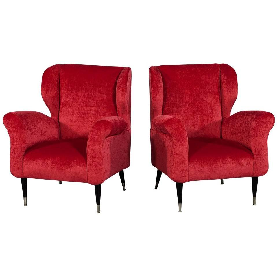 Genial Pair Of Mid Century Modern Plush Red Lounge Chairs For Sale