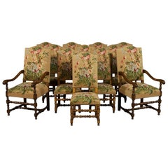 Set of 12 Tudor Style French Dining Chairs