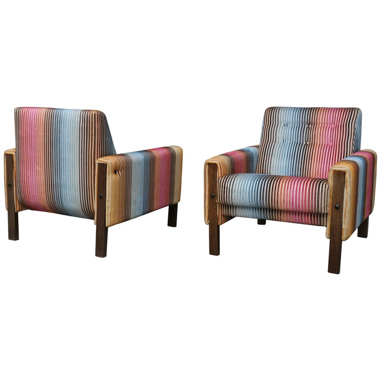 Missoni Home Armchair Virgola Nador: 1950s Lounge Armchairs Re-Upholstered In Multicolored