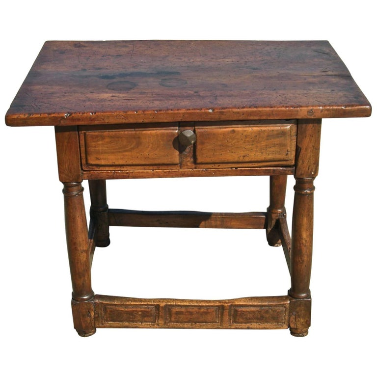 17th Century Single Board Spanish Walnut Accent Table