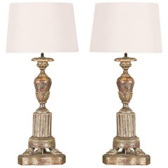 Pair of 1920s Italian Carved Wood Lamps