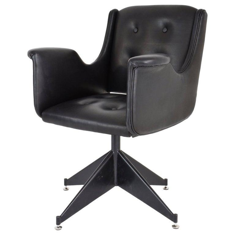 Italian Mid-Century Leather Swivel Chair, 1950's