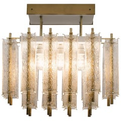 Three Chandeliers in Structured Glass and Brass, 1970s