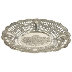 19th Century Sterling Silver Pierced Dish with Cherubs and Garlands of Flowers