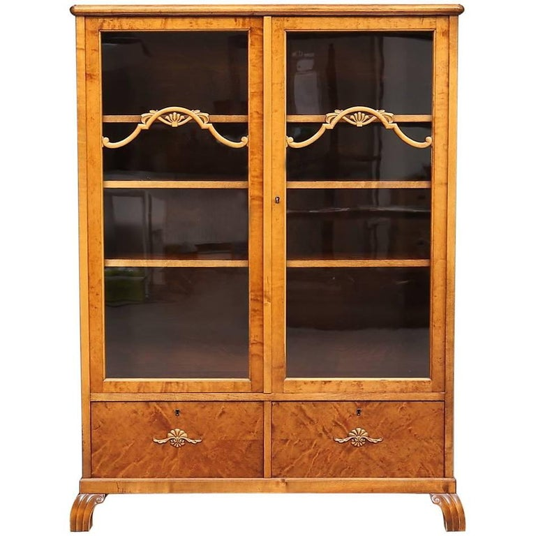 Antique Swedish Art Deco Cabinet Armoire Marquetry Inlaid Early 20th Century