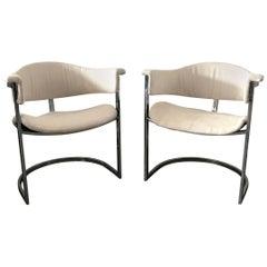 Pair of Vittorio Introini for Mario Sabot Chrome Armchairs