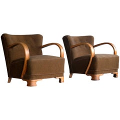 Pair of Boesen Style 1940s Art Deco Chairs Lounge Chairs in Oak and Wool