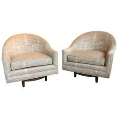 Pair of Scandinavian Swivel Chairs by Selig with Walnut Bases and New Upholstery
