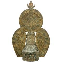 17th Century Tibetan Embroidered Silk and Wood Carved Buddha Stupa
