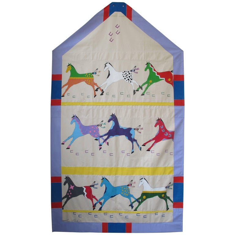 Running Horses Painted Tipi Door by Ramona Medicine Crow For Sale