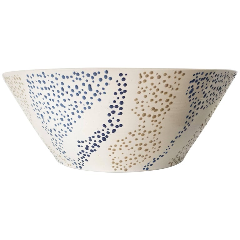 "Large Roy Hamilton ""Faux Marble"" Ceramic Bowl, circa 1980 1"