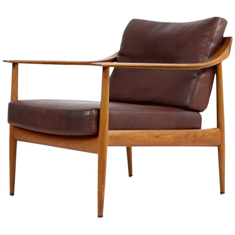 1960s Teak Easy Louhge Chair & Leather Knoll Antimott Mid-Century Modern No. 1