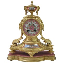 French 19th Century Bronze Gilt Mantel Clock with Sevres Style Panels