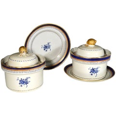 Chinese Export American-Market Blue Enamel Circular Tureens, Covers and Stands
