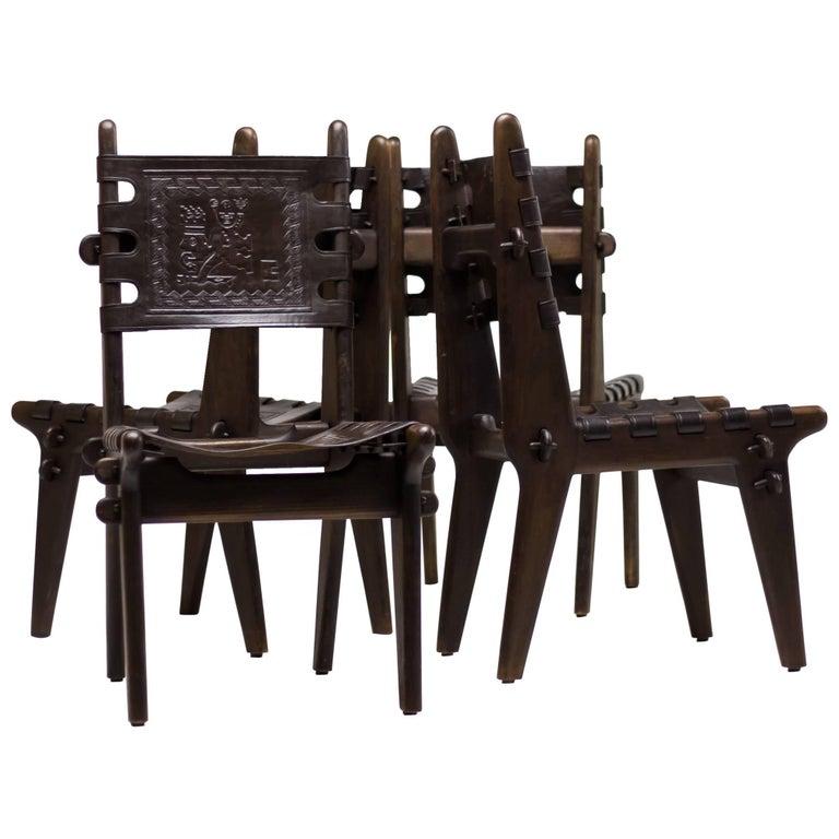 Set of Four Ecuadorian Dining Chairs by Angel Pazmino for Muebles de Estilo 1