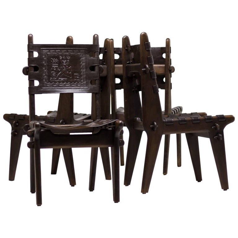 Set of Four Ecuadorian Dining Chairs by Angel Pazmino for Muebles de Estilo For Sale