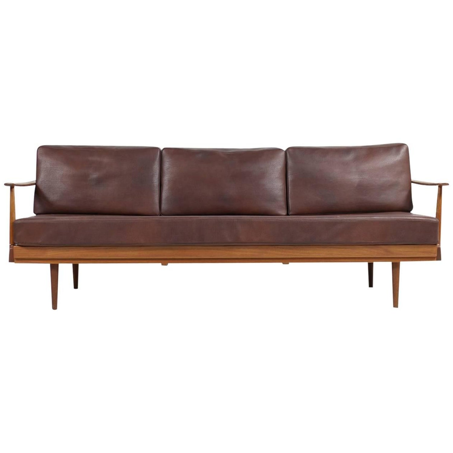 Mid Century Modern Orange Convertible Daybed Sofa For Sale at 1stdibs