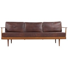 1960s, Teak and Leather Daybed Knoll Antimott Mid-Century Modern Sofa Adjustable