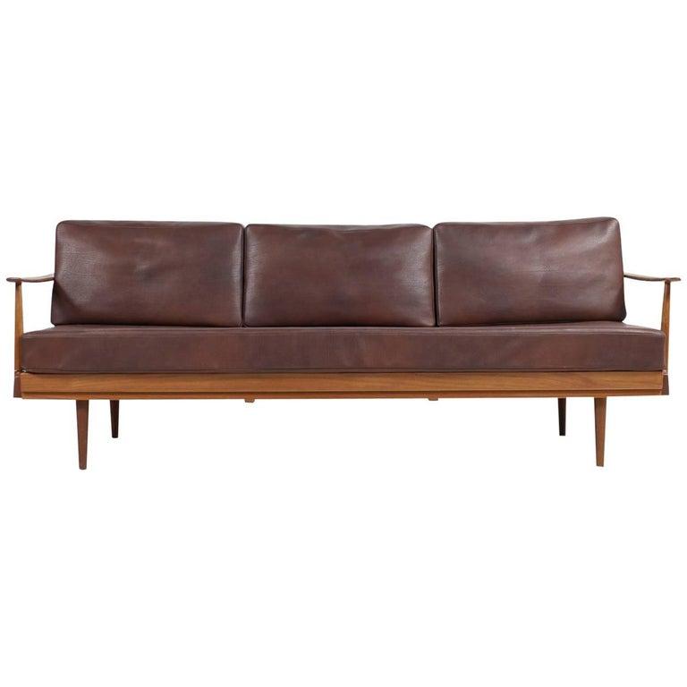 1960s, Teak and Leather Daybed Knoll Antimott Mid-Century Modern Sofa  Adjustable