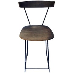 Paul McCobb Clifford Pascoe Style Iron and Wood Drafting Stool