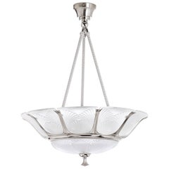 Lalique Ginkgo Crystal and Brushed Nickel Ceiling Lamp