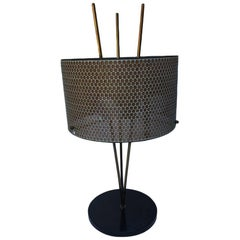 Tripod Style Table Lamp with Perforated Shade