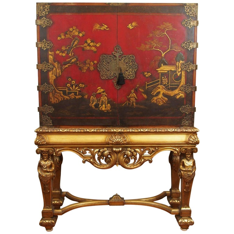 Antique Chinoiserie Red Lacquer Cabinet on Stand For Sale - Antique Chinoiserie Red Lacquer Cabinet On Stand At 1stdibs