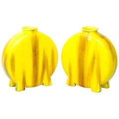 Minton Pottery Yellow-Glazed Moon Flasks